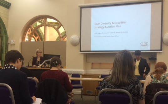 Yvonne Morris, Policy Officer at CILIP, being introduced at the conference