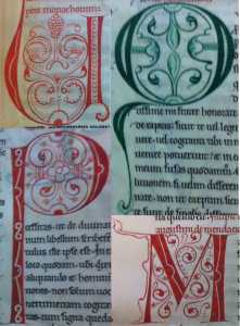 Bruges, Public Library Ms 109. U from f. 26r, Q from f. 1r, M from f. 72v, P from f. 46r.