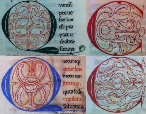 Bruges, Public Library Ms 118.  Green Q from f. 116r, blue Q from f. 1v, top C from f. 22v, and bottom C from f. 105r