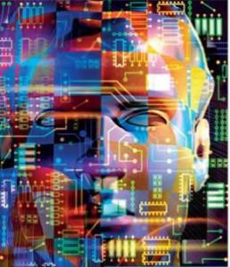 visage humain, tâches de couleur, circuits électroniques