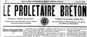 Une du Prolétaire breton, janvier 1915