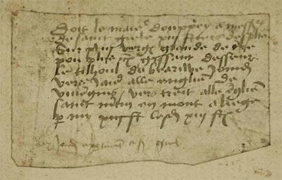 Notice mémo relative au versement d'une rente assise sur une terre. Liège, XVe s. Liège, Archives de l'État, Couvent des Dominicains, 24.