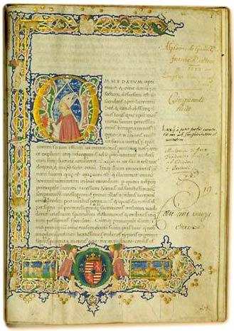 Ps. Denys l'Aréopagite, Opera. Armes de Mathias Corvin avec le sigle M.A. (= Mathias Augustus). Notes d'achat du XVIe siècle : « Alphonsi de Gamitz. Fortunae. AP. Coetera. 1573 . Emptus Vienae mense martii. Cinquante huit (...). 19. Coté cent vingt deux » (Le manuscrit a été acheté à Vienne en 1573 par le dénommé Alphonse  de Gamitz). Besançon, Bibl. mun., ms. 166, fol. 1