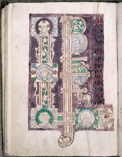 Incipit pleine page de l'Évangile de Matthieu Cambrai, BM, ms. 862, p. 57-321.