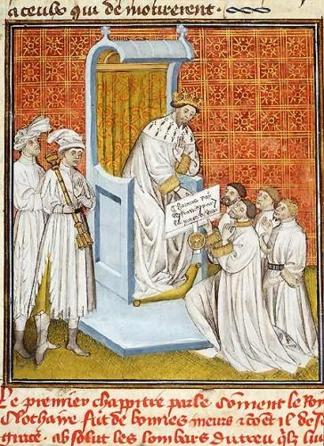 Grandes Chroniques de France. Troyes, début du xve s. Toulouse, bibliothèque municipale, ms. 512, f. 55v.