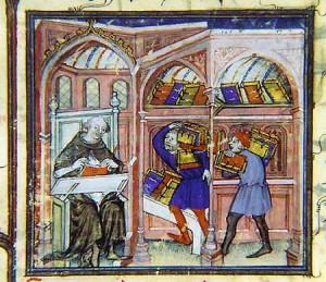 Miroir Historial de Vincent de Beauvais, traduction de Jean de Vignay, après 1320. Rome, bibliothèque vaticane, Reg. lat. 538, f. 1.