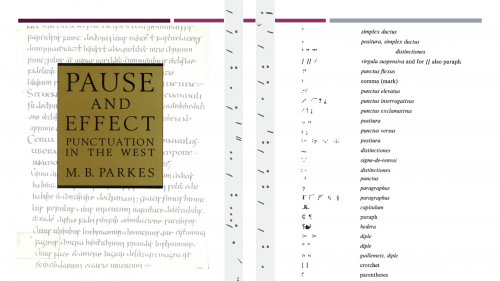 Figure 1: Table des signes de ponctuation et de leur dénomination proposée par M. B. Parkes, Pause and Effect, Aldershot, 1992, p. 301.