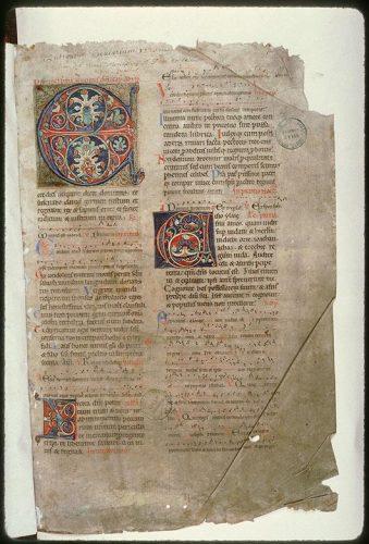Amiens, Bibl. mun., ms. 115, f. 1. Bréviaire de l'abbaye de Corbie, Corbie, avant 1173.