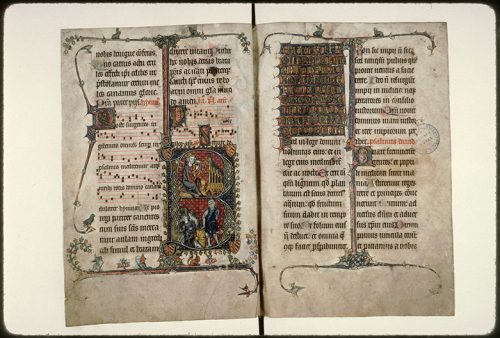 Amiens, Bibl. mun., ms. 124, f. 7v-8. Psautier à l'usage d'Amiens, Amiens, dernier quart du XIIIe s.