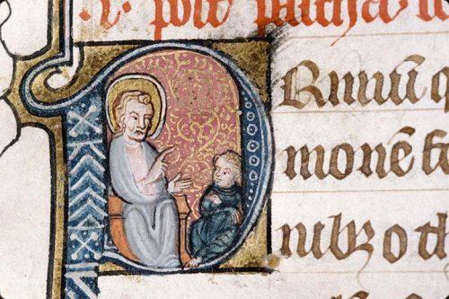 Saint Luc enseignant, Alençon, Bm, ms. 128, f. 126.