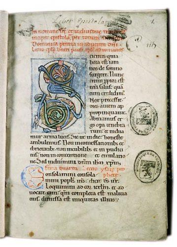 Vendôme, Bibl. mun., ms. 115, f. 1. Épistolier à l'usage de l'abbaye de la Trinité de Vendôme, Vendôme (abbaye de la Trinité), vers 1160.