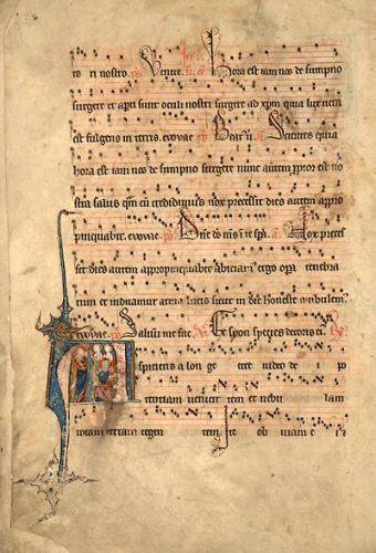 Cambrai, Bibl. mun., ms. 38, f. 10v. Antiphonaire à l'usage de Cambrai, Cambrai, entre 1235 et 1245.