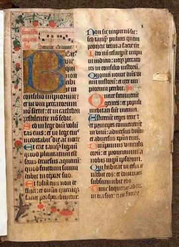 Cambrai, Bibl. mun., ms. 1283, f. 1. Psautier-hymnaire du couvent guillelmite de Walincourt, Nord de la France ? seconde moitié du XVe s.
