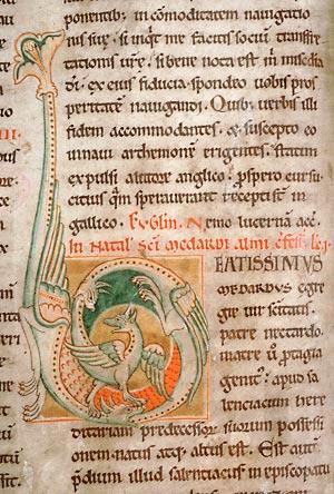 Amiens, Bibl. mun., ms. 142, f. 80v. Lectionnaire de l'abbaye de Corbie (partie d'été), Corbie, vers 1150.