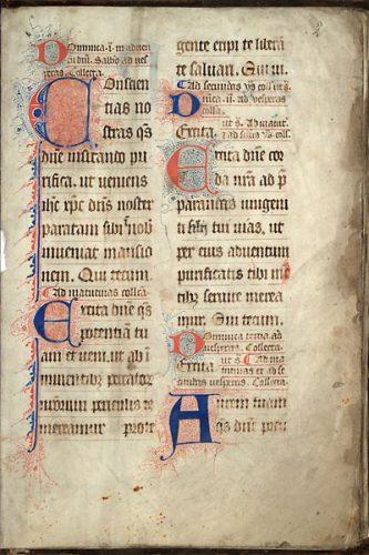 Cambrai, Bibl. mun., ms. 42, f. 2. Collectaire à l'usage de Cambrai, Nord de la France ? seconde moitié du XIVe s.