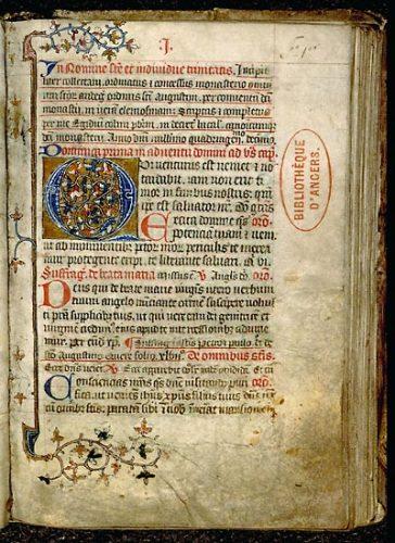 Angers, Bibl. mun., ms. 106, f. 16. Collectaire à l'usage de l'abbaye Toussaint d'Angers, Toussaint d'Angers, 1410.