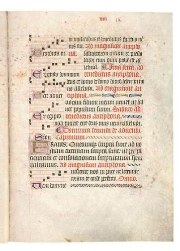 Avignon, Bibl. mun., ms. 177, f. 15. Collectaire d'Avignon, Provence ? 1396.