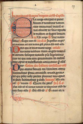 Cambrai, Bibl. mun., ms. 48, f. 197. Bréviaire de Cambrai, France du Nord, dernier quart du XIIIe s.