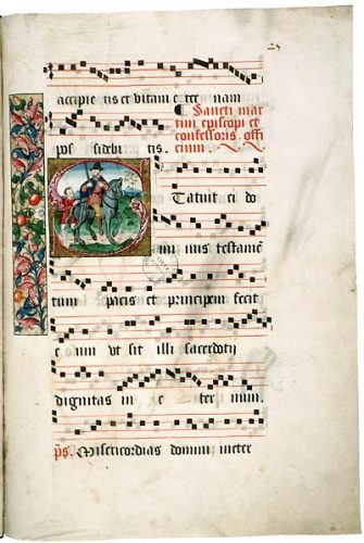 Amiens, Bibl. mun., ms. 165, f. 25. Graduel festif à l'usage de Notre-Dame la Riche de Tours, adapté à l'usage d'Amiens.