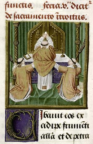 Douai, Bibl. mun., ms. 91, f. 86, Missel de l'abbaye d'Anchin. Gand, premier quart du XVIe s.