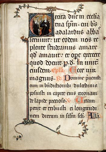 Amiens, Bibl. mun., ms. 157, f. 25v. Missel festif de l'abbaye Saint-Pierre de Corbie, Nord de la France, XIIIe-XIVe s.