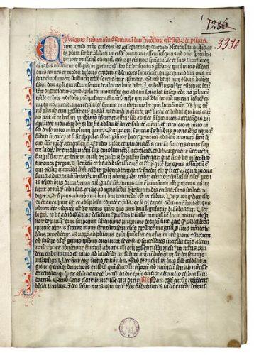 Paris, Bibl. Mazarine, ms. 3330, f. 1. Livre des réductions de fondations des célestins de Paris, Paris, 1436.