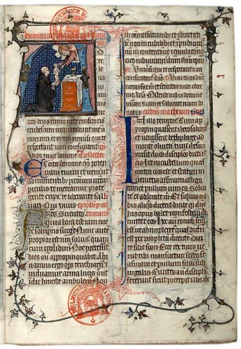 Paris, Bibl. Mazarine, ms. 419, f. 7. Missel de l'abbaye Montier-en-Der, Paris, vers 1335.