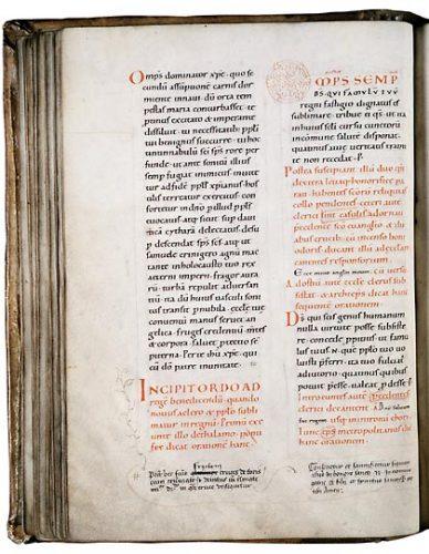Vendôme, Bibl. mun., ms. 14, f. 45v. Pontifical de Salzbourg, Sud de l'Allemagne ? première moitié du XIe s.