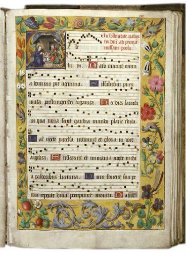 Douai, BM, ms. 124, f. 19. Tropaire-prosaire à l'usage de l'abbaye d'Anchin, Nord de la France, premier quart du XVIe s.