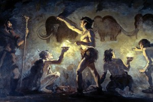 Von der Vorstellung der karnivoren Urmenschen sind wir mittlerweile abgerückt. Was jedoch tatsächlich auf dem Speiseplan stand, wissen wir nicht. Gemüse und Obst geben leider kein schönes Höhlenmotiv ab. Bild: Font-de-Gaume, Charles R. Knight (1874-1953), gemeinfrei.