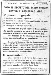 Scomunica ai comunisti, 3 Udine