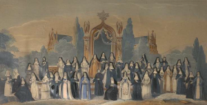 Ordres religieux Costumes de femmes. Tableau historique d'après le P. Hélyot, © KIK-IRPA, Bruxelles