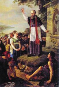 Le prêche de saint François aux Thononais, vers 1596-1597, par Prosper Dunant, 1823 (huile sur toile, 205x138 cm, coll. part.)
