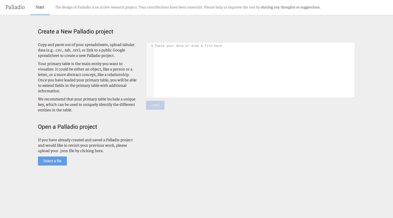 Copie d'écran du logiciel en ligne Palladio (Juin 2014) Page d'accueil - le chercheur est appelé à copier les données avec lesquelles il souhaite travailler --- Plus d'informations : http://palladio.designhumanities.org/