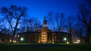 Campus buildings in Princeton University at night
