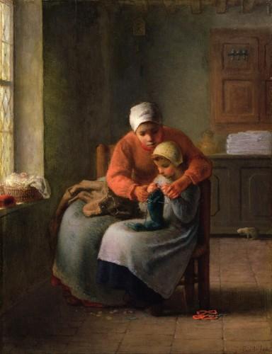 La Leçon de Tricot, J.-F. Millet, 1869. Huile sur toile citée par Yvonne Verdier dans Façons de dire, façons de faire, Gallimard, 1979.