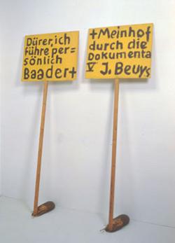 """Beuys, """"Dürer fürhe per = sönlich baadert + Meinhof durch die Dokumenta V"""", 1972, Acrylique sur bois"""