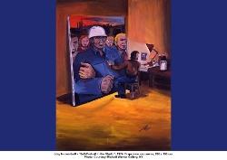 """Immendorff, """"Auto-portrait dans un atelier"""", 1974, Acrylique sur toile, 200 x 150 cm"""