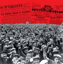 """Affiche de l'exposition """"1936 et les années du Front populaire à Aurillac et dans le Cantal"""""""