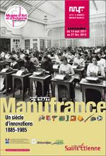 """Affiche de l'exposition organisée par le Musée d'Art et d'Industrie de Saint-Étienne """"C'était Manufrance, un siècle d'innovation : 1885-1985"""""""