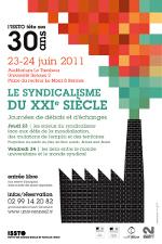 """Affiche de la journée d'étude """"Le syndicalisme du 21ème siècle"""", ISSTO, 2011"""