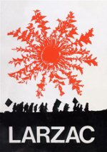 """Affiche """"Larzac"""" 1974, Cardabelle Larzac et silhouette des militants, création Atelier de la Buège, photo : Larzac / Lip Bezsançon cop. CB 1974"""