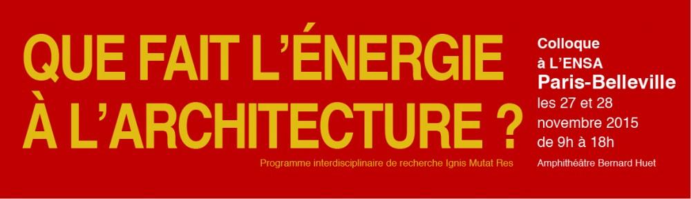 Que fait l'énergie à l'architecture