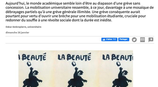 «Grève à l'Université ? A propos des débats stratégiques dans le mouvement» par Oskar Ambrepierre