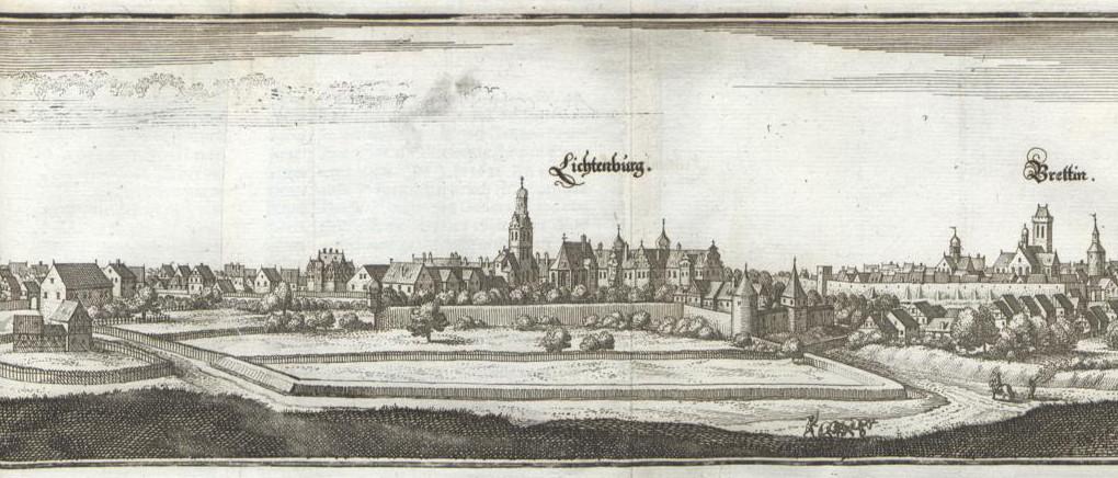 Matthäus Merian, Prettin mit Schloss und Vorwerk Lichtenburg, errichtet unter Kurfürstin Anna, ca. 1570-1583, Topographia Superioris Saxoniae, 1650