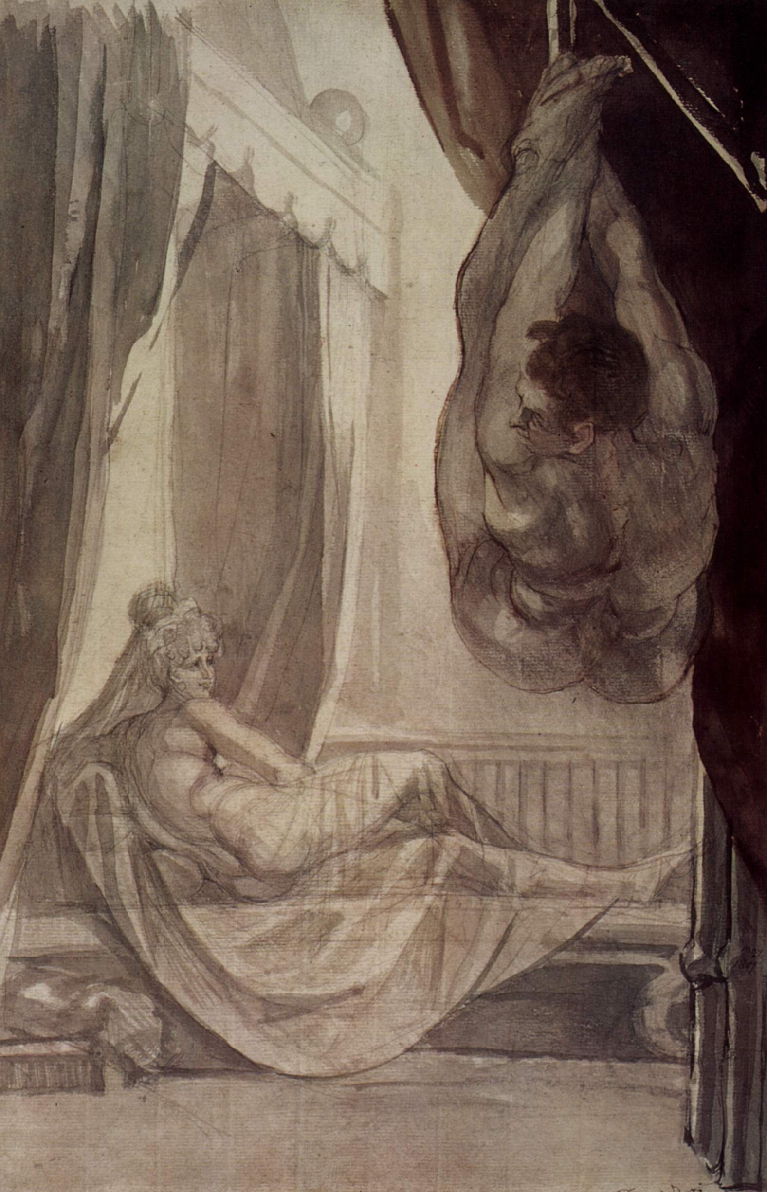 Johann Heinrich Füssli, Brunhilde beobachtet Gunther, 1807, Nottingham Castle Museum