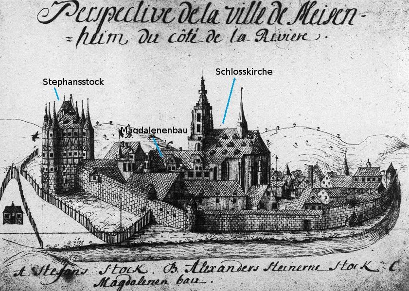 Schlosskirche und Schlossbauten von Südosten, Zeichnung 18. Jh., Bibliothèque Municipale Nancy, Ms. 310 (740)