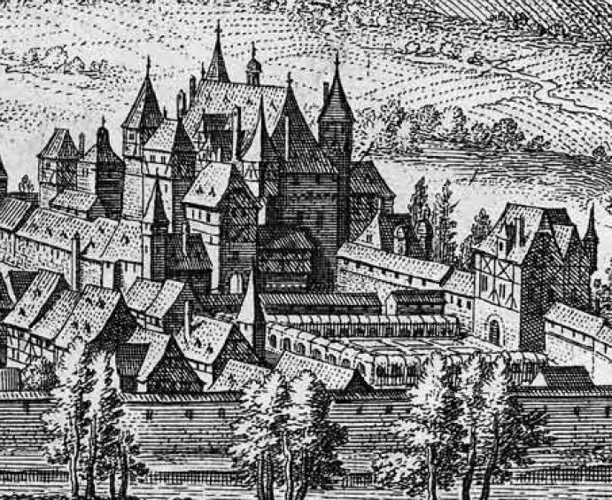Schloss Simmern in der Topographia Germaniae von M. Merian, 1648
