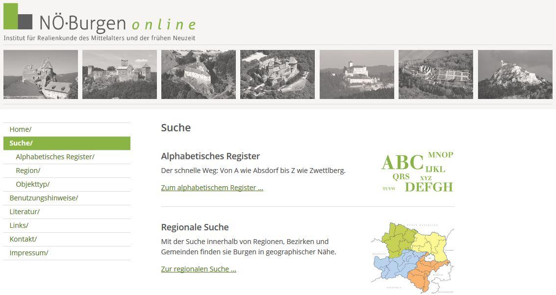 screenshot NÖ Burgenlexikon