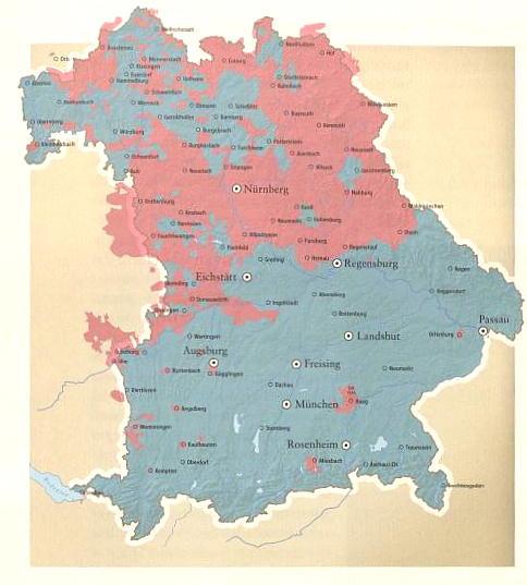 Konfessionen in Bayern um 1580. Rot: evangelisch. Grafschaft Haag: östlich von München. aus: Adel in Bayern, Ausst. Kat. 208, S. 95.